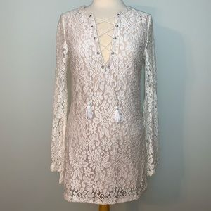 Long sleeve lace dress w/lace-up detail at chest